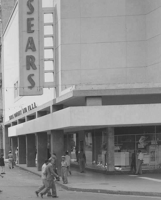 A closeup of Sears, where you can see the refrigerators and other items that were being sold