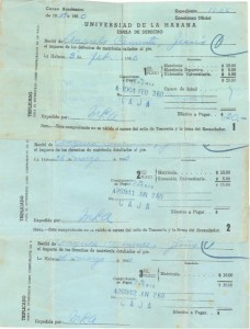 University of Havana receipts